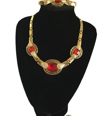 J0145 ruby red set necklace