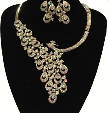 J0150 two tone peacock set necklace