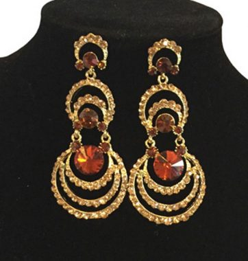 J0159 Gold & Brown Tone Earrings