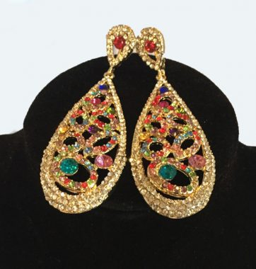 J0161 Colourful Embellished Earrings