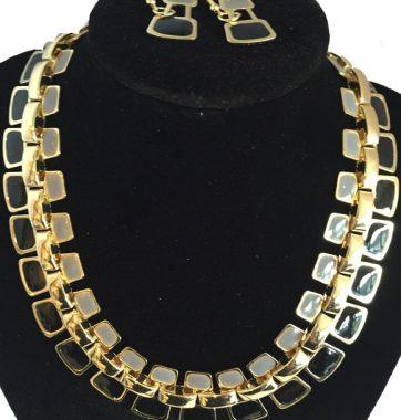 J0164 Grey Gold & Black Necklace Set