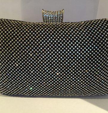 J0207 Crystal and Black ball mesh Box Clutch Bag