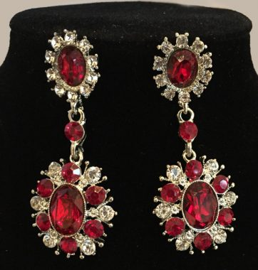 J0213 Red & Clear Crystal Drop Earrings
