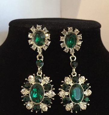 J0214 Green & Clear Crystal Drop Earrings