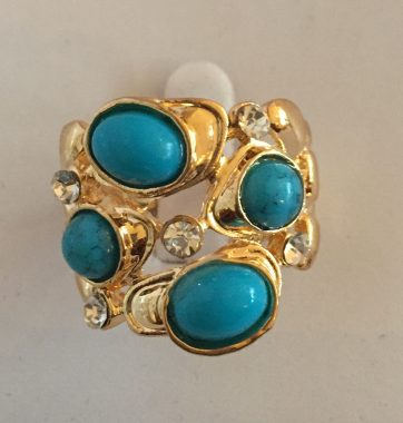 J0245 Gold & Turquoise Ring