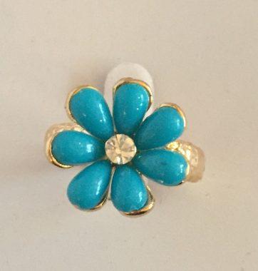 J0247 Turquoise Flower Ring